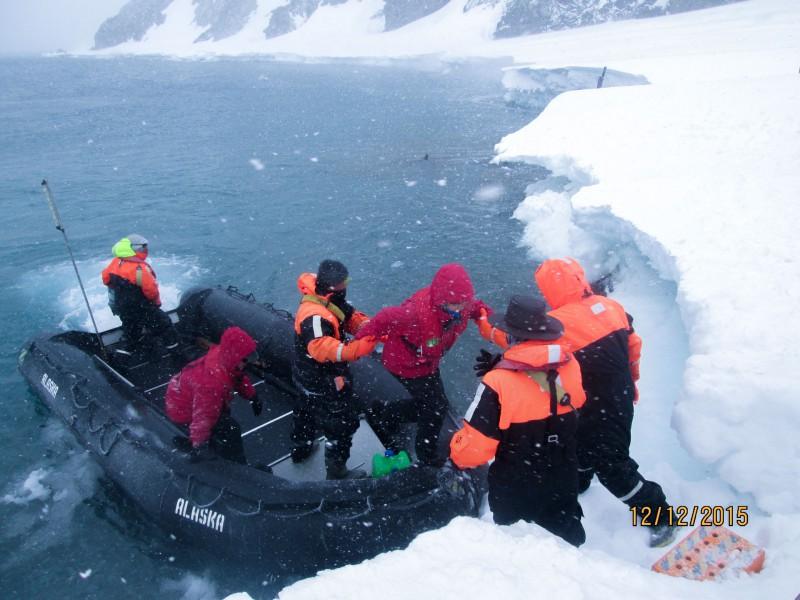Landgang mit dem Zodiac auf der Antarktischen Halbinsel