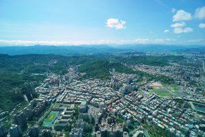 Taipeis Außenbezirke von oben