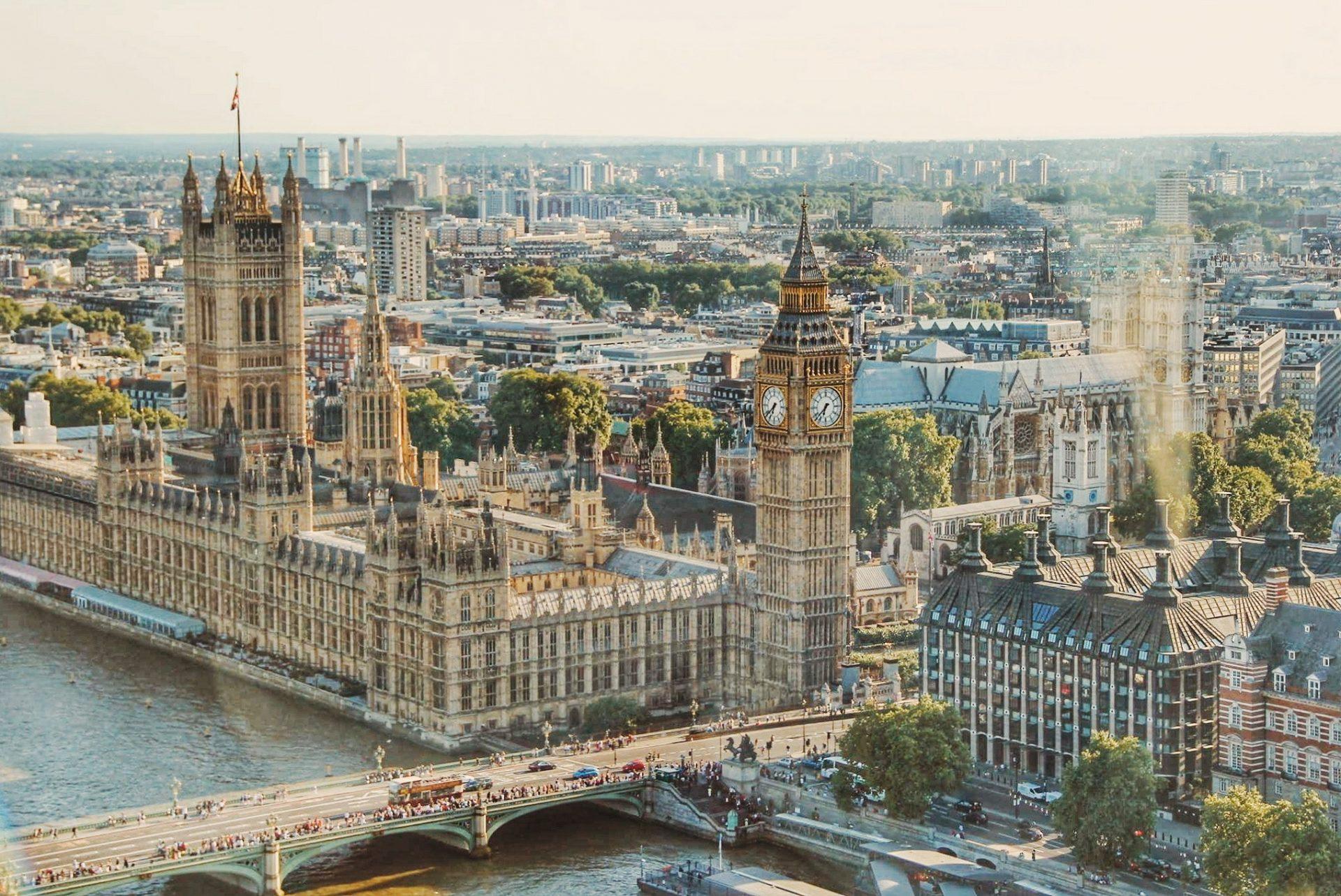Der Buckingham-Palace vom London Eye aus gesehen.