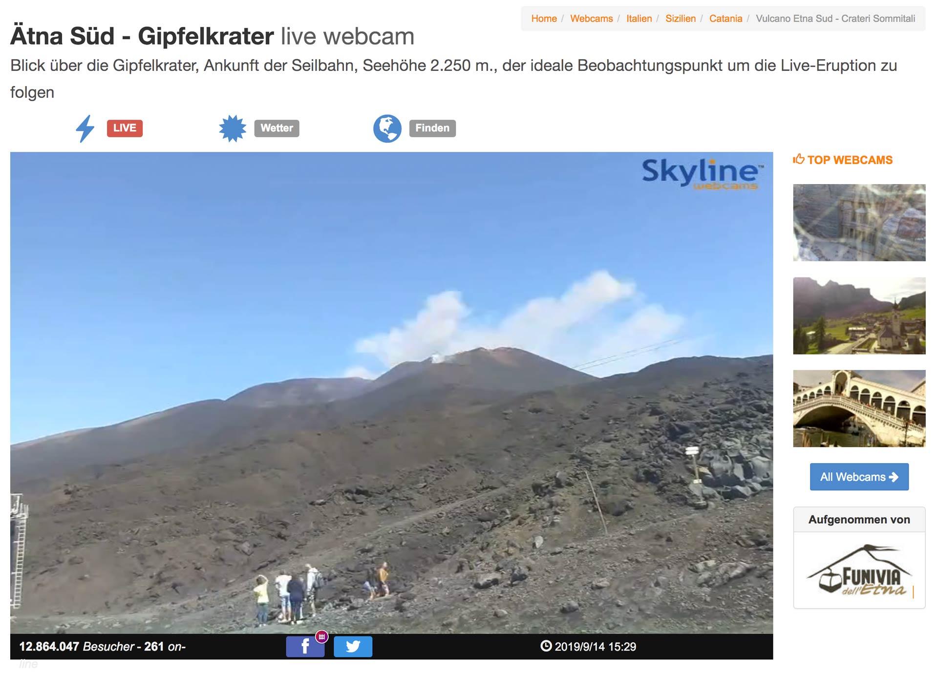 Live-Webcam-Ätna, Sizilien
