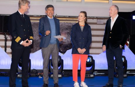 Schiffstaufe HANSEATIC inspiration, Moderation Ranga Yogeshwar, mit Laura Dekker und Karl Pojer